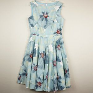 Emily Hallman Millie Dress Blue White Red Floral